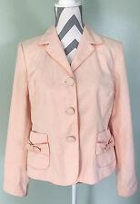 ANN TAYLOR LOFT Womens Pink Polka Dot Cotton Full Lined Blazer Jacket Coat Sz 12
