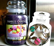 """Yankee Candle """"JELLY BEANS"""" Easter LG 22 oz.& COTTONTAILS GOLDEN EGGS ILLUMA LID"""
