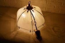 aufgearbeitete Pendelleuchte Glas Schirm Hängeleuchte Retrolampe Klassik Messing