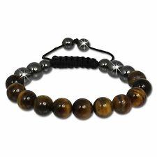 Bracelet - Shamballa oeil de tigre + hématites - marron - Bracelet Femme Homme