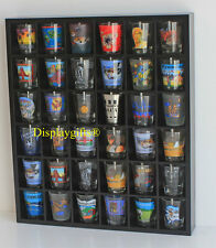 36 SHOT GLASS DISPLAY SHELF BAR CASE CABINET CURIO RACK Shadow Box MH37