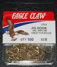 100 Eagle Claw 575 Size 8 Gold 90 Degree Light Jig Hooks Do It Molds 575-08