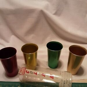 Heller Hostess Ware Colorama Aluminum Tumblers set /4 Made in Italy W/ Package