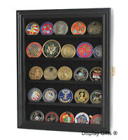 LOCKABLE Challenge Coin Casino Chip Display Case Rack Cabinet Pin Medal Box