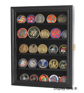 Challenge Coin Casino Chip Medal Display Case Rack Cabinet, Real Wood Real Glass