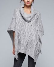 LOVE STITCH Pullover Cowl Neck Chunky Cable Knit Sweater Poncho (ONE SIZE)
