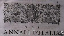 MURATORI_ANNALI D'ITALIA_MEDIOEVO_ANNO MILLE_ANTICA STORIA LOCALE_'700