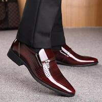 2018 Mens Formal Slip On Breathable Pointed Toe Patent Leather Flat Dress Shoes