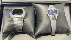 pair of men and womens vintage digital red LED pulsar watches, as is, no reserve