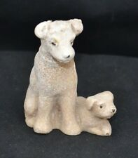 Soapstone or other stone Dog and Puppy Unmarked
