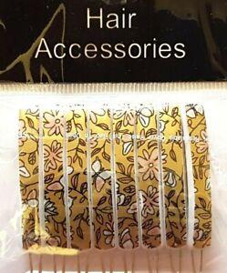 8 x Flower ON Gold Vintage Hair Accessories Snap Hair Clips Slides Hair Grip