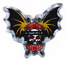 Skull & Raised Bat Wings Suzuki Metallic Foil Sticker Motorcycles