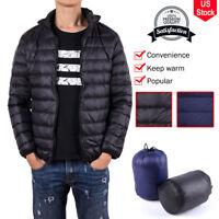 Men's Packable Down Jacket Ultralight Stand Collar Coat Winter Warm Puffer Tops