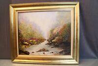 Tableau avec cadre signé Patrigeon huile sur toile Sur le chemin de la cascade