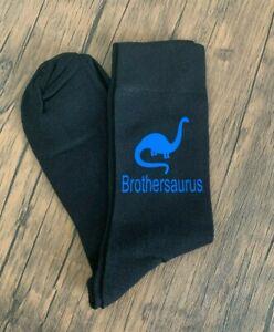 Brother Dinosaur Novelty Socks Men's Black Socks Blue Vinyl Print Brother Gift