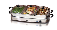 Elite Platinum Maxi-Matic 2.5 Quart 3 Tray Buffet Server, Stainless Steel Tray
