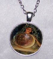 "Silver 20"" Necklace women  ANGEL GLOW MOON  WORLD FAIRY Pendant  Free $10 GIFT"