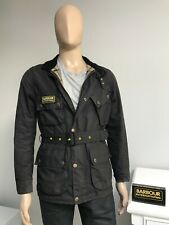 Barbour SLIM INTERNATIONAL Black Men's Wax Waxed Cotton Biker Jacket S Small 38