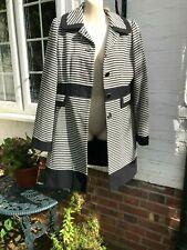 New Mark & Spencer women coat black white stripes size 12 UK