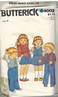 4002 Vintage Butterick Sewing Pattern Girls Vest Shirt Skirt Pants 4 1980s OOP