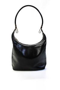 Gucci Womens Medium Gold Tone Black Leather Shoulder Handbag