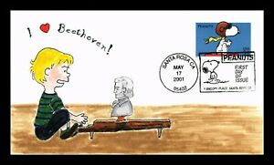 DR JIM STAMPS US SCHROEDER PEANUTS SNOOPY RED BARON HAND DRAWN FDC COVER