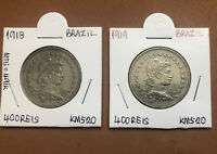 1918,1919 SET OF 2 BRAZIL COPPER-NICKEL 400 REIS COLLECTIBLE COINS KM# 520