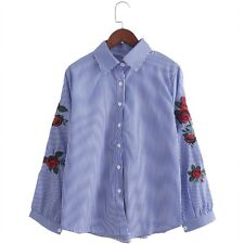 Women Blouse Ladies Floral Embroidery Lantern Long Sleeve Casual Shirt Tops