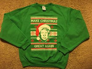 Make Christmas Great Again Sweatshirt President Trump Ugly Christmas Size Medium