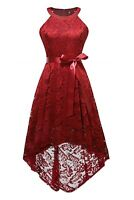 Hi-lo Floral Lace Dress for Women Halter Party Dress Wedding Bridesmaid Dresses