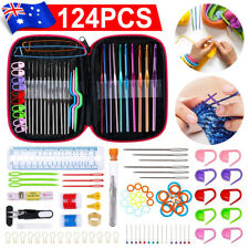 124PCS Aluminum Crochet Hooks Kit Weave Yarn Knitting Needles Sewing Tools Case