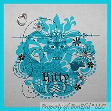 BonEful Fabric FQ Cotton Quilt L Block Kitty Cat Bird Shabby Chic Decor Aqua Dot