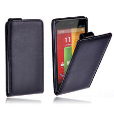 Premium BLACK FLIP Leather Case Cover For Motorola Moto G