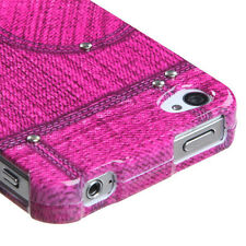 Pink Jeans w/Stud Snap-On Hard Case Cover Accessory for Apple iPhone 4 4S