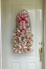 Christmas, Winter, Red, Gold, Ribbon, Ornaments, Deco Mesh Welcome Door Wreath