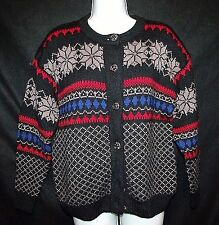 TUNDRA Canada vtg 100 virgin wool nordic fairisle cardigan ski sweater winter S