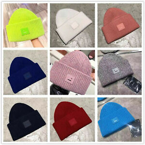 Acne Studios Smiling Face Beanie Skull Caps Hats Street Hip-hop Winter Wool Caps