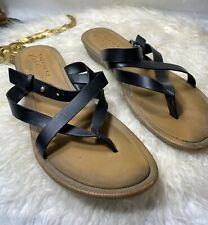 Sketchers Size 11 Black Strappy Sandals Slide Women Shoes Cute Casual Slip On