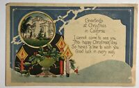 Greetings At Christmas In California Postcard 1914 Candles Burning Holly Vintage