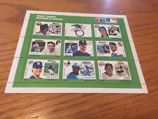 1988 Grenda Baseball Postage Stamps 9 Stamps Mint Never Used