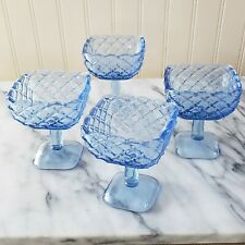 Vintage Set of 4 Blue Glass Square Footed Dessert Sherbet Dish Pedestal Pressed