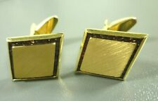 Lucien Piccard 14K Yellow Gold Cufflinks with Natural Sapphire