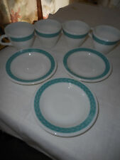 4 Vntg Pyrex Double Tough Coffee Cups & 3 Corning Decor Turquoise Leaf Saucers