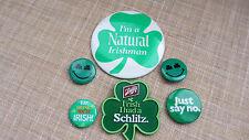 Older St Patricks Day Pinback Buttons Lot of 6~ Natural Irishman~ Schlitz & More