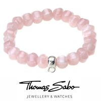 Genuine Thomas Sabo club silver 925 rose quartz charm carrier bracelet 14cm