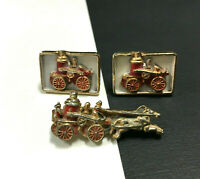 Vintage OLD Red Enamel FIREMAN ENGINE Horse Gold Cuff Links & Tie Tack NN128zy