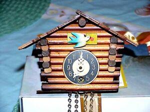 Vtg Black Forest Miniature Chalet Clock-Mechanical Mvmt-German Made RUNS
