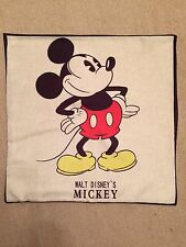 Disney Mickey Mouse Linen Effect Cushion Cover. Vintage Retro 45x45cm, Bedroom