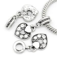 1PC European Charm Dangle Beads Fit Pendants CZ Crystal Rhinestone