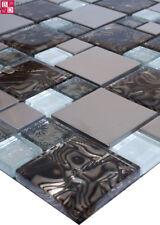 Glasmosaik Mosaikfliesen Mosaik aus Glas Edelstahl Braun Silber Weiß Jaguary Neu